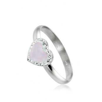 Anello in argento con cuore rosa Le Meraviglie Anelli Donna ANAGCU25