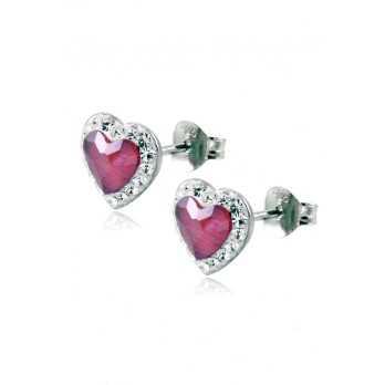 Orecchini in argento con cuore rosso Le Meraviglie Orecchini Donna ORAGMIA05
