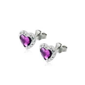Orecchini in argento con cuore viola Le Meraviglie Orecchini Donna ORAGMIA06