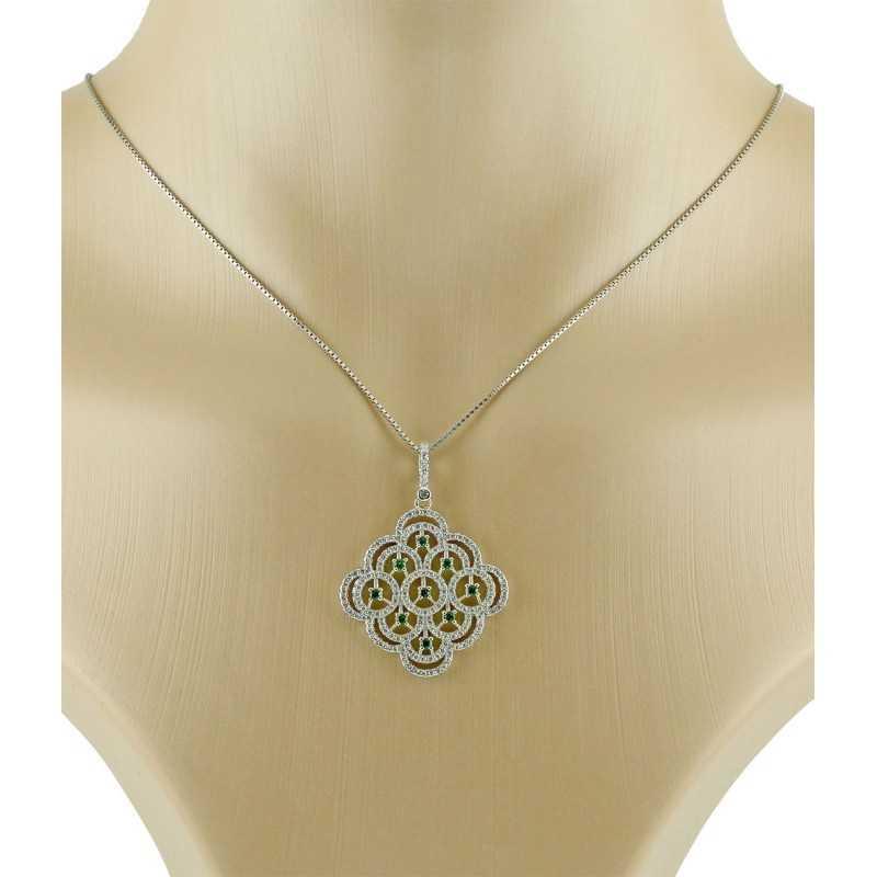 Collana argento e swarovski con pietre verde smeraldo Le Meraviglie Collane Donna COAGMSMC2