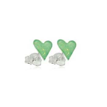 Orecchini bimba cuore verde