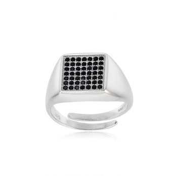 Anello unisex argento e pietre nere forma quadrata
