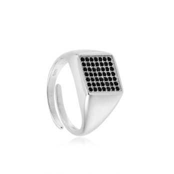Anello unisex argento e pietre nere forma quadrata Alexia Gioielli Home RBAN23AGQ
