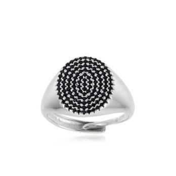 Anello unisex argento e pietre nere forma ovale