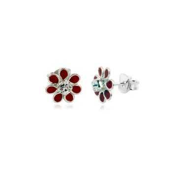 Orecchini bimba a fiorellini rossi e pietra Le Meraviglie Orecchini Kids ORAGFI08