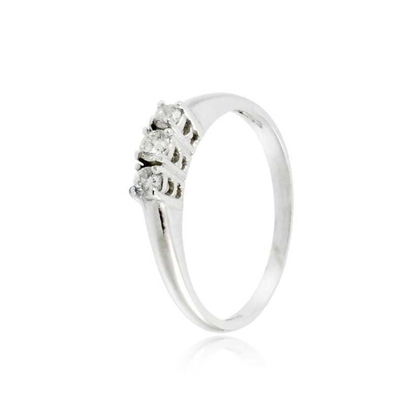 Anello Trilogy in oro bianco e diamanti 0,17Ct Prestige Gold Anelli oro diamanti HT17