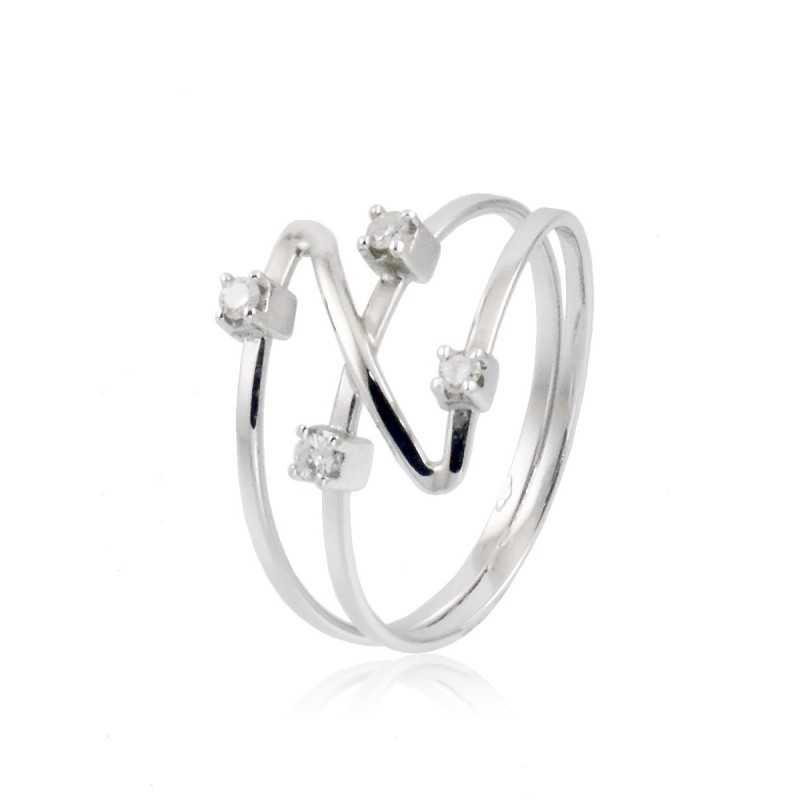 Anello fantasia in oro bianco e diamanti 0,10ct Zoppi Gioielli jewelry Anelli oro diamanti AN010015