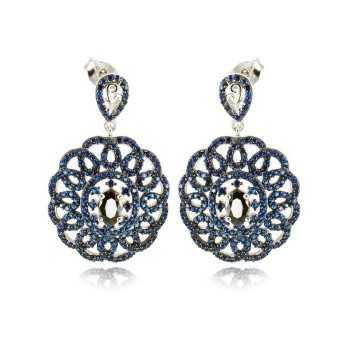 Orecchini in argento con pietre blu
