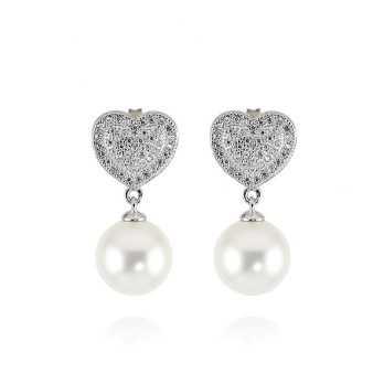 Orecchini in argento con perla e cuore a pavè