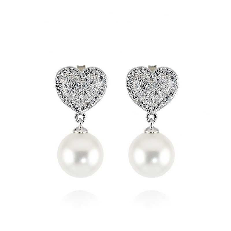Orecchini in argento con perla e cuore a pavè Zoppi Gioielli bijoux Orecchini Perle ITOR50AG
