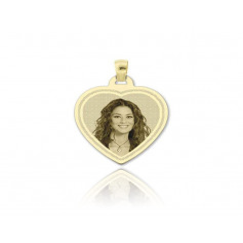 Medaglia foto incisa in oro - cuore inciso