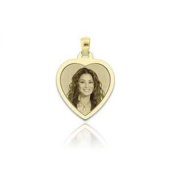 Medaglia foto incisa in oro - cuore piatto