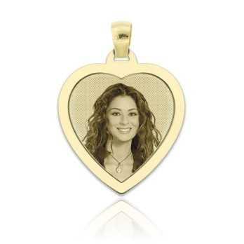 Medaglia foto incisa in oro - cuore piatto Medagliafoto Fotomedaglie incise MF-CIP34.1AU