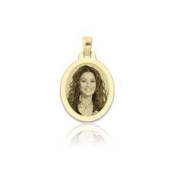 Medaglia foto incisa in oro - ovale piatta