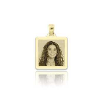 Medaglia foto incisa in oro - quadrata piatta
