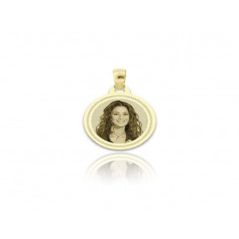 Medaglia foto incisa in oro - Tonda piatta incisa