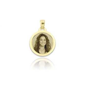 Medaglia foto incisa in oro - Tonda piatta