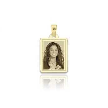 Medaglia foto incisa in oro - rettangolare piatta incisa