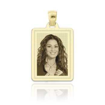 Medaglia foto incisa in oro - rettangolare piatta incisa Medagliafoto Fotomedaglie incise MF-RIL9.1AU