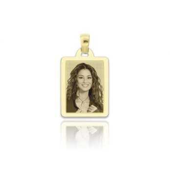 Medaglia foto incisa in oro - rettangolare piatta