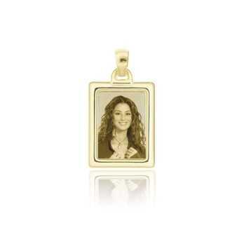 Medaglia foto incisa in oro - rettangolare bombata
