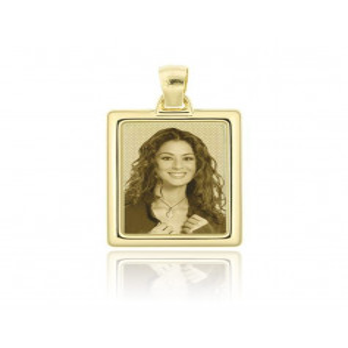 Medaglia foto incisa in oro - rettangolare bombata Medagliafoto Fotomedaglie incise MF-RIB11.1AU