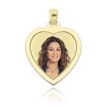 Medaglia foto a colori in oro - cuore piatto Medagliafoto Fotomedaglie a colori MF-CCP36.1AU