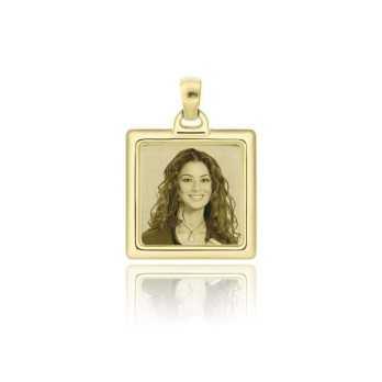 Medaglia foto incisa in oro - quadrata bombata