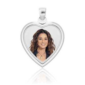 Medaglia foto a colori in argento - cuore bombato Medagliafoto Fotomedaglie a colori MF-CCB37.1AG
