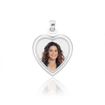 Medaglia foto a colori in argento - cuore bombato