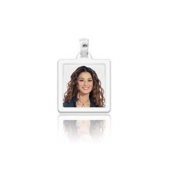 Medaglia foto a colori in argento - quadrata piatta