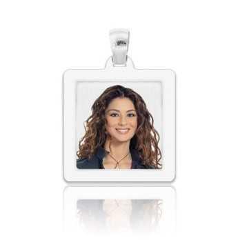 Medaglia foto a colori in argento - quadrata piatta Medagliafoto Fotomedaglie a colori MF-QCP28.1AG
