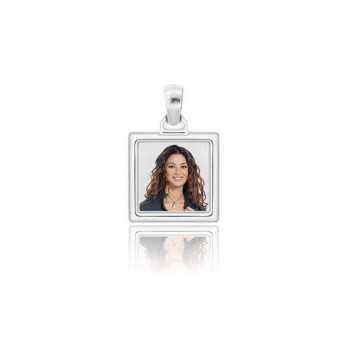 Medaglia foto a colori in argento - quadrata bombata