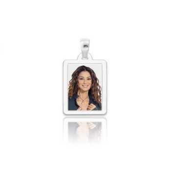 Medaglia foto a colori argento - rettangolare piatta