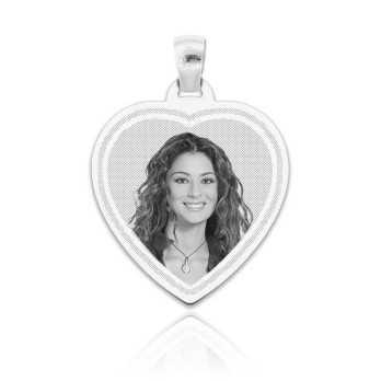 Medaglia foto incisa in argento - cuore inciso Medagliafoto Fotomedaglie incise MF-CIL33.1AG