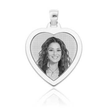 Medaglia foto incisa in argeno - cuore piatto Medagliafoto Fotomedaglie incise MF-CIP34.1AG