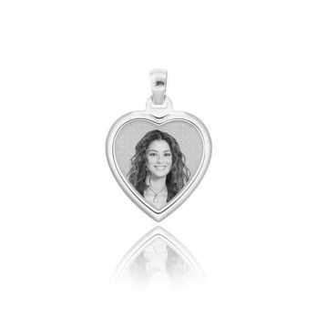 Medaglia foto incisa in argento - cuore bombato