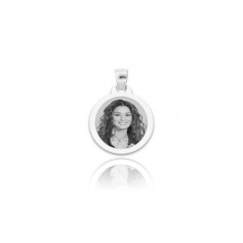 Medaglia foto incisa in argento - ovale piatta
