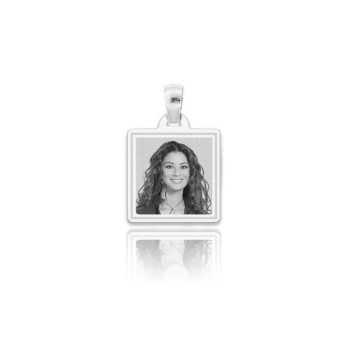 Medaglia foto incisa in argento - quadrata incisa