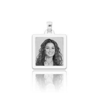 Medaglia foto incisa in argento - quadrata piatta
