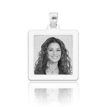 Medaglia foto incisa in argento - quadrata piatta Medagliafoto Fotomedaglie incise MF-QIP26.1AG
