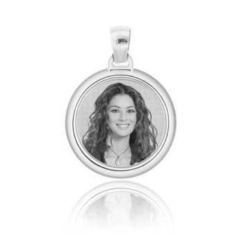 Medaglia foto incisa in argento - Tonda bombata Medagliafoto Fotomedaglie incise MF-TIB3.1AG
