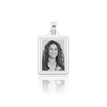 Medaglia foto incisa in argento - rettangolare piatta incisa