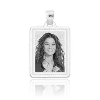 Medaglia foto incisa in argento - rettangolare piatta incisa Medagliafoto Fotomedaglie incise MF-RIL9.1AG