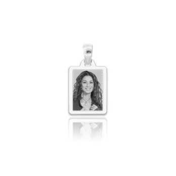 Medaglia foto incisa in argento - rettangolare piatta