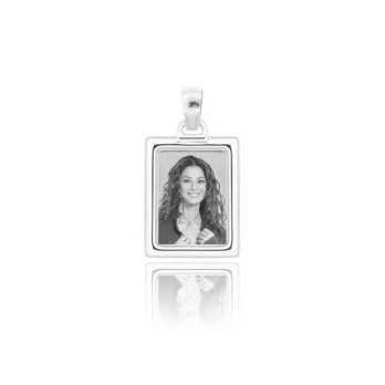 Medaglia foto incisa in argento - rettangolare bombata