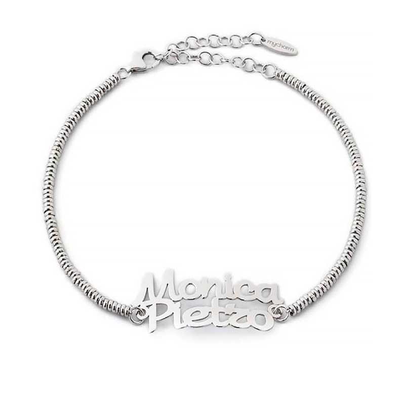 Bracciale personalizzato con nomi in argento Mi racconto gioielli Home MF-AG6BR1
