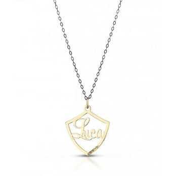 Collana in oro con scudo e nome Mi racconto gioielli Home MF-15OPE3