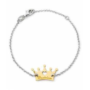 Bracciale in argento corona in oro con nome Mi racconto gioielli Home MF-14OABR16
