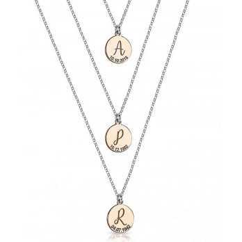 Tripla collana con ciondoli con iniziale e data Mi racconto gioielli Occasioni MF-AG4PE72